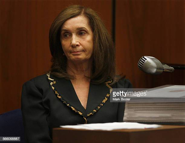 Donna Clarkson, mother of Lana Clarkson glances at the jury during her testimony in the Phil Spector murder trial. Spector is accused in the fatal...