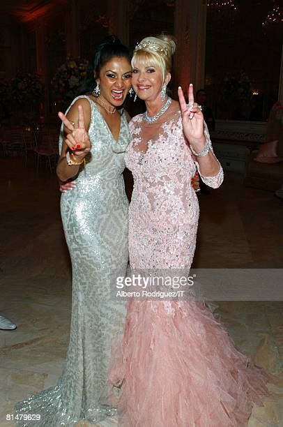 RATES Donna D'Cruz and Ivana Trump during the wedding reception of Ivana Trump and Rossano Rubicondi at the MaraLago Club on April 12 2008 in Palm...