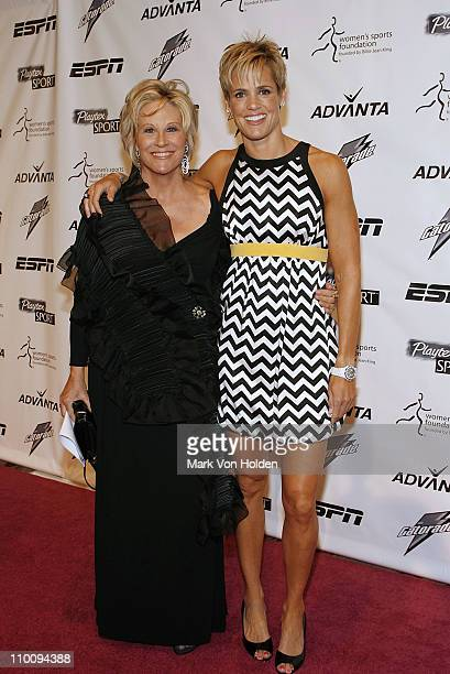 Donna de Varona and Dara Torres arrives on the Playtex Sport Pink Carpet at The 28th Annual Salute to Women in Sports Awards Dinner on October 15...
