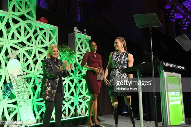 Donna de Varona LaChina Robinson and Oksana Masters speak onstage during The Women's Sports Foundation's 39th Annual Salute To Women In Sports And...