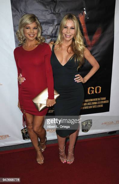 Donna D'Errico and Sharise Neil arrive for the Los Angeles Premiere of 'Miles To Go' held at Writers Guild Theater on April 5 2018 in Beverly Hills...