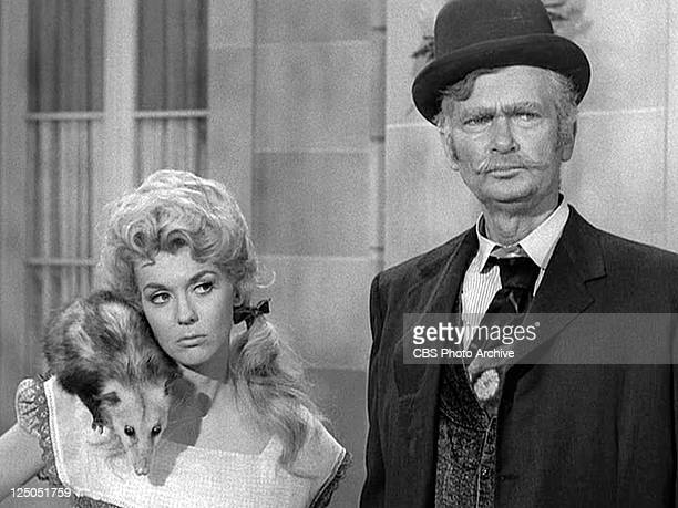 Donna Douglas as Elly May Clampett and Buddy Ebsen as Jed Clampett in THE BEVERLY HILLBILLIES episode HairRaising Holiday Original airdate October 2...