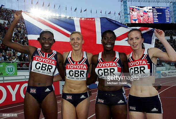 Donna Fraser Lee McConnell Christine Ohuruogu and Nicola Sanders of the Great Britain relay team celebrates after the women's 4x400 metres relay...