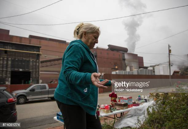 Donna Frederick an air quality activist stands in front of her home opposite the Allegheny Technologies Inc steel mill October 26 2017 in Natrona...