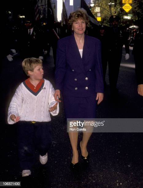 Donna Hanover and son Andrew Giuliani during Columbus Day Parade at Fifth Avenue in New York City New York United States