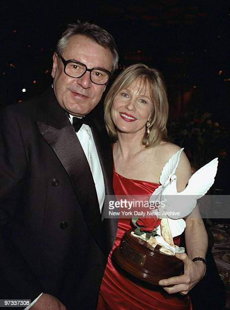 Donna Hanover Giuliani gets together with film director Milos Foreman at the Plaza Hotel where she was honored at the third annual Red Ball Event...