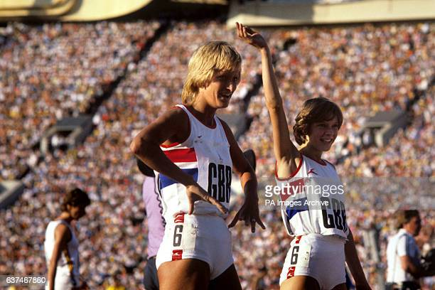 Donna Hartley and Kathy Smallwood of the Great Britain 4x400 metres relay team who won the bronze medal
