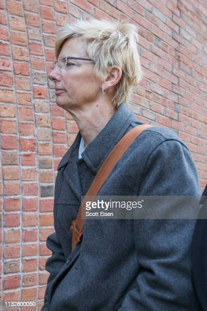Donna Heinel former senior associate athletic director at the University of Southern California arrives for her arraignment at Boston Federal Court...