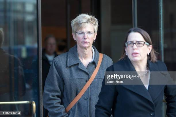 Donna Heinel former senior associate athletic director at the University of Southern California leaves following her arraignment at Boston Federal...