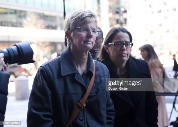 Donna Heinel left of California who was senior associate athletic director at the University of Southern California is pictured outside the John...