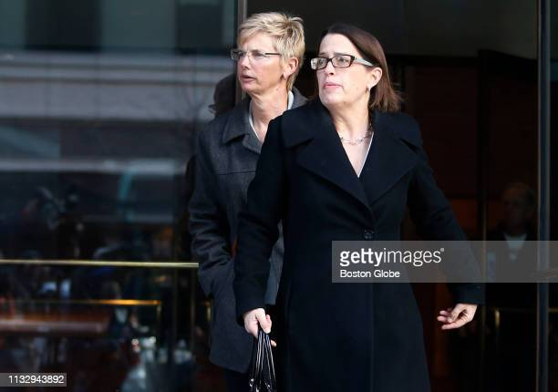 Donna Heinel rear left of California who was senior associate athletic director at the University of Southern California departs the John Joseph...