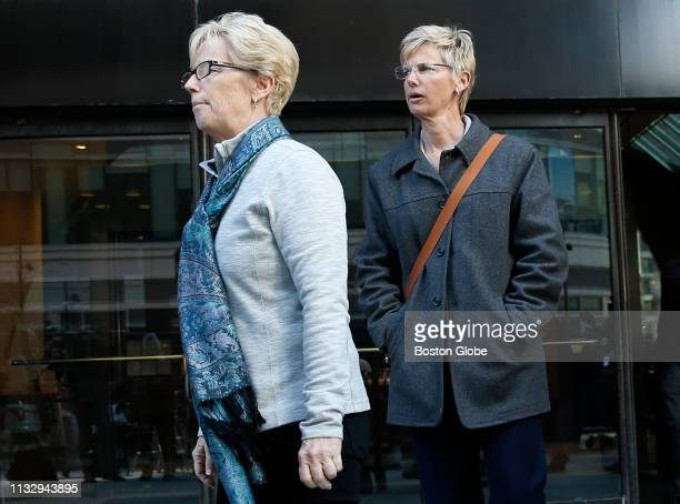Donna Heinel right of California who was senior associate athletic director at the University of Southern California departs the John Joseph Moakley...