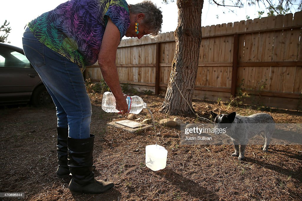 Donna Johnson pours water into a dog's bowl on April 23, 2015 in Porterville, California. Over 300 homes in the California central valley city of Porterville are living without running water after their wells dried up due to the severe drought. County officials and charitable organizations are providing drinking water and non-potable water to use to wash dishes and bathe. Donna Johnson has been delivering drinking water to residents since the crisis began last year.