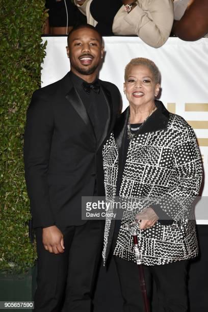 Donna Jordan and Michael B Jordan attend the 49th NAACP Image Awards Arrivals at Pasadena Civic Auditorium on January 15 2018 in Pasadena California