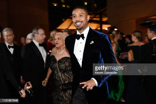 Donna Jordan and Michael B Jordan attend the 91st Annual Academy Awards Governors Ball at Hollywood and Highland on February 24 2019 in Hollywood...