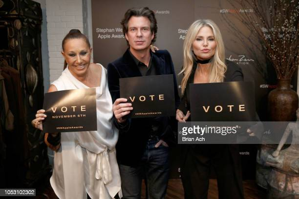 Donna Karan Adam Glassman and Christie Brinkley attend the Stephan Weiss Apple Awards at Urban Zen on October 24 2018 in New York City