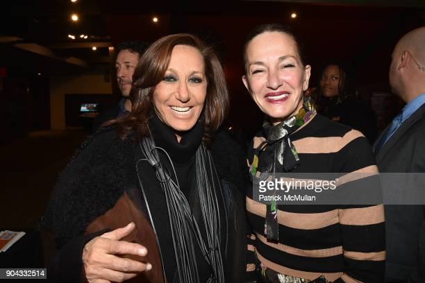 Donna Karan and Cynthia Rowley attend The Cinema Society Bluemercury host the premiere of IFC Films' 'Freak Show' at Landmark Sunshine Cinema on...