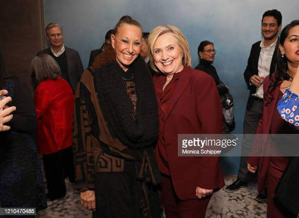 """Donna Karan and Hillary Rodham Clinton attend the after party for Hulu's """"Hillary"""" NYC Premiere on March 04, 2020 in New York City."""