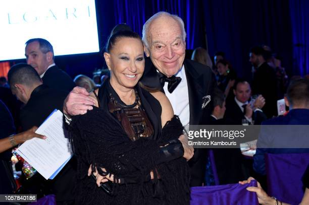 Donna Karan and Leonard Lauder attend the Elton John AIDS Foundation's 17th Annual An Enduring Vision Benefit at Cipriani 42nd Street on November 5...