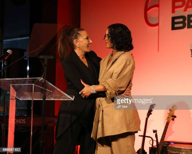 Donna Karan and Rihanna speak onstage during The 69th Annual Parsons Benefit at Pier 60 on May 22 2017 in New York City