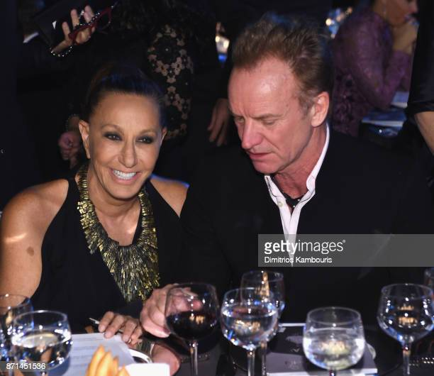 Donna Karan and Sting attend the Elton John AIDS Foundation Commemorates Its 25th Year And Honors Founder Sir Elton John During New York Fall Gala at...