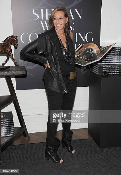 Donna Karan attends Connecting The Dots Book Launch Exhibition Opening at Donna Karan's Urban Zen Center at the Stephen Weiss Studio on October 17...