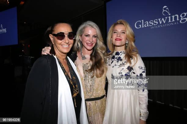 Donna Karan Carmen Busquets and Jana Pasquel de Shapiro attend the 2018 Glasswing International Gala at Tribeca Rooftop on April 26 2018 in New York...