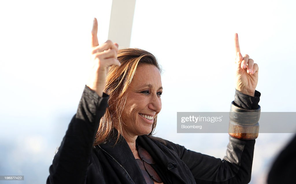Donna Karan, chief designer of Donna Karan International Inc., gestures during a Bloomberg Television interview on the EDF Energy London Eye in London, U.K., on Wednesday, Nov. 14, 2012. Retail sales in the U.S. fell in October for the first time in four months, influenced by the effects of superstorm Sandy, which hurt receipts for some and helped for others. Photographer: Chris Ratcliffe/Bloomberg via Getty Images