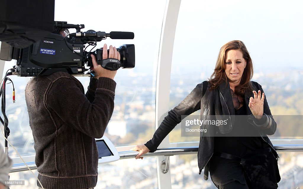Donna Karan, chief designer of Donna Karan International Inc., speaks during a Bloomberg Television interview on the EDF Energy London Eye in London, U.K., on Wednesday, Nov. 14, 2012. Retail sales in the U.S. fell in October for the first time in four months, influenced by the effects of superstorm Sandy, which hurt receipts for some and helped for others. Photographer: Chris Ratcliffe/Bloomberg via Getty Images