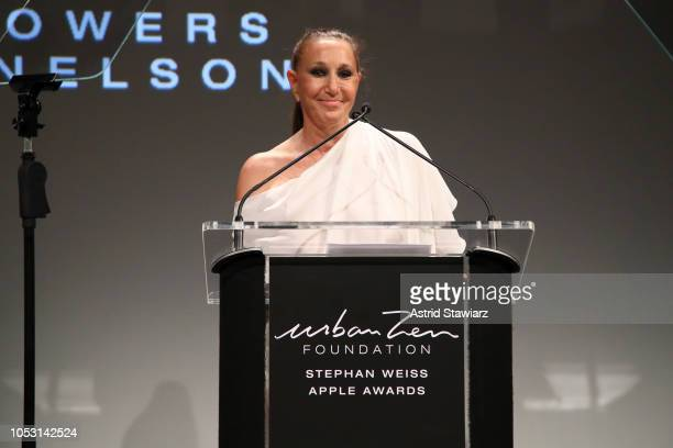 Donna Karan speaks onstage during the Stephan Weiss Apple Awards at Urban Zen on October 24 2018 in New York City
