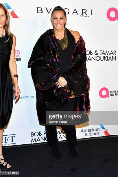 Donna Karen attends the Elton John AIDS Foundation's Annual Fall Gala with Cocktails By Clase Azul Tequila at Cathedral of St John the Divine on...