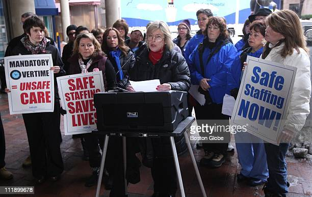 Donna KellyWilliams President of the Massachusetts Nurses Association speaks as members of the rallied outside Tufts Medical Center on Wednesday...
