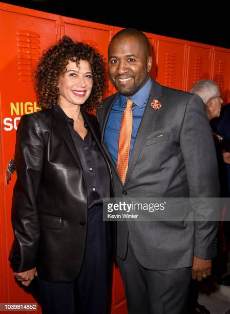 Donna Langely and Malcolm D Lee arrive at the premiere of Universal Pictures' 'Night School' at the Regal Cinemas LA LIVE Stadium 14 on September 24...
