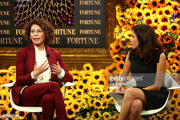 Donna Langley and Michal LevRam speak onstage at the Fortune Most Powerful Women Summit 2016 at RitzCarlton Laguna Niguel on October 18 2016 in Dana...