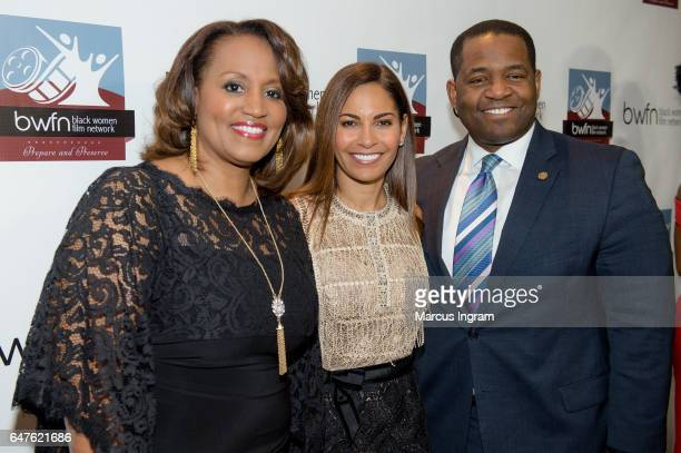 Donna Lowry Actress Salli Richardson Whitfield and Ceasar Mitchell attend the 2017 Black Women Film Summit Untold Stories awards luncheon at Atlanta...