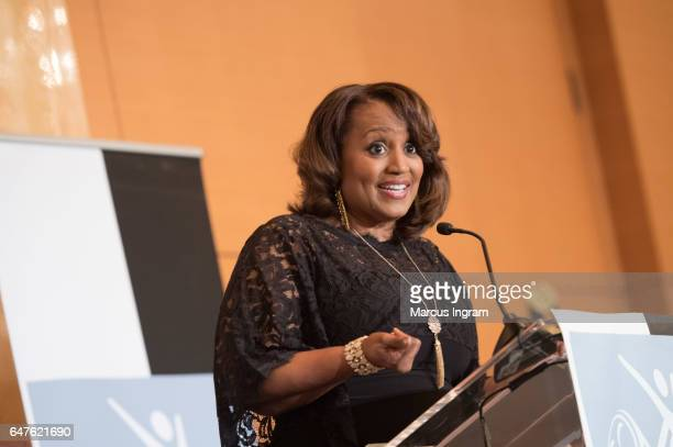 Donna Lowry speaks on stage during the 2017 Black Women Film Summit Untold Stories awards luncheon at Atlanta Marriott Marquis on March 3 2017 in...
