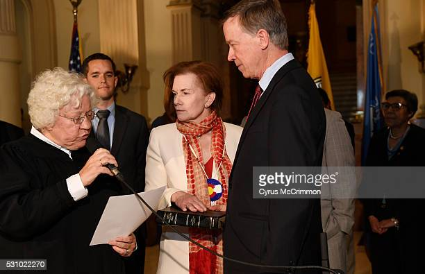 Donna Lynne center was sworn in as the Lieutenant Governor of Colorado in a ceremony at the state Capitol in Denver on Thursday May 12 2016 Colorado...