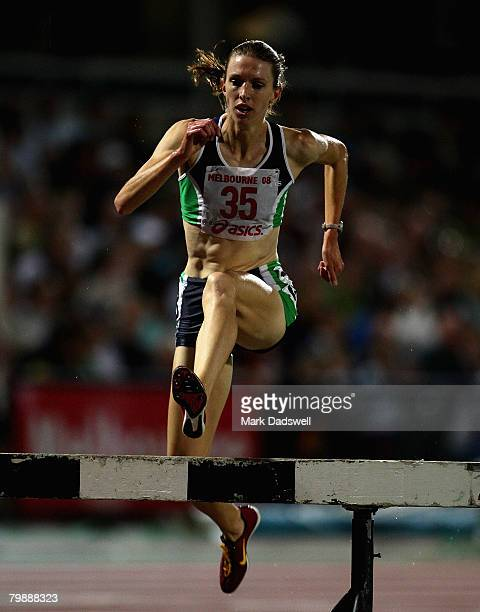 Donna MacFarlane of Australia clears a hurdle on her way to winning the womens 3000 Metres Steeplechase during the Melbourne Athletics Grand Prix...