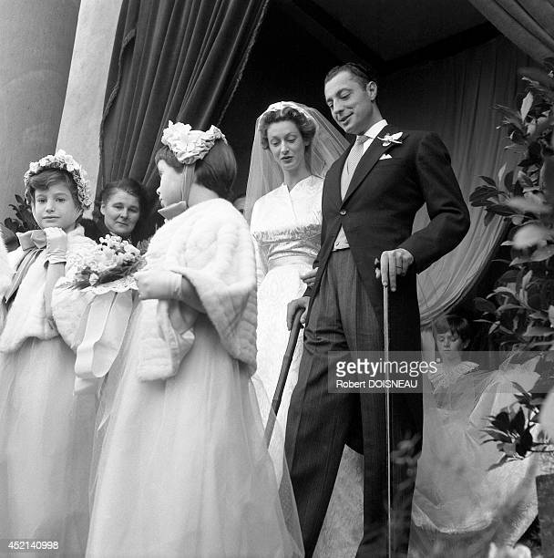 Donna Marella Caracciolo di Castagneto and Giovanni Agnelli during their wedding ceremony on November 19 1953 in Osthoffen France