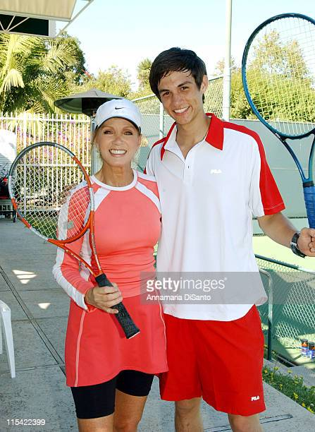 Donna Mills and Cory McCarey during TJ Martell / Neil Bogart Foundation 2006 Racquet Rumble Tennis Tournament at Riviera Tennis Club in Los Angeles...