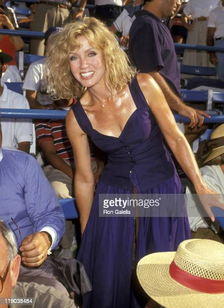 Donna Mills during 1991 US Tennis Open at Flushing Meadows Park in Queens California United States