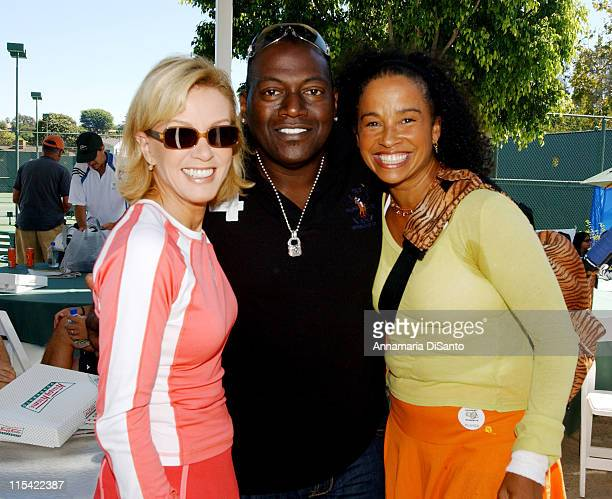 Donna Mills Randy Jackson and Rae Dawn Chong during TJ Martell / Neil Bogart Foundation 2006 Racquet Rumble Tennis Tournament at Riviera Tennis Club...