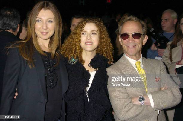 Donna Murphy Bernadette Peters and Joel Grey during Olympus Fashion Week Fall 2005 Bill Blass Backstage and Front Row at The Tents at Bryant Park in...