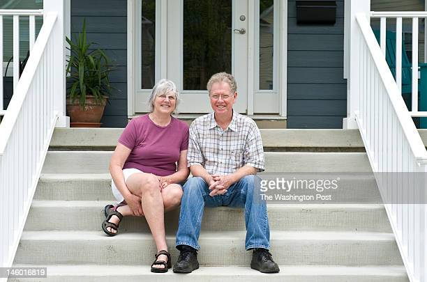 Donna Olsen and Chuck Dulaney retired teachers from Raleigh NC pose on their front steps Monday June 2012 in Kensington MD They moved to the area...