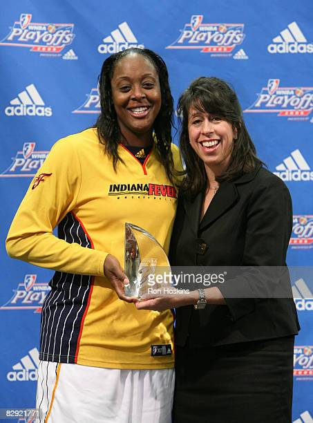 Donna Orender , President of the WNBA, presented Ebony Hoffman of the Indiana Fever with the 2008 WNBA's Most Improved Player prior to the Fever...