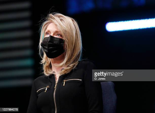 Donna Pettis daughter of Don Lewis looks on during a news conference at Riverhills Church of God on August 10 2020 in Tampa Florida The surviving...
