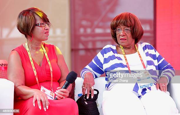 Donna Prather Williams and Beverly Owens Prather on stage they talk about RACE a forthcoming feature film about Owens' quest to become the greatest...