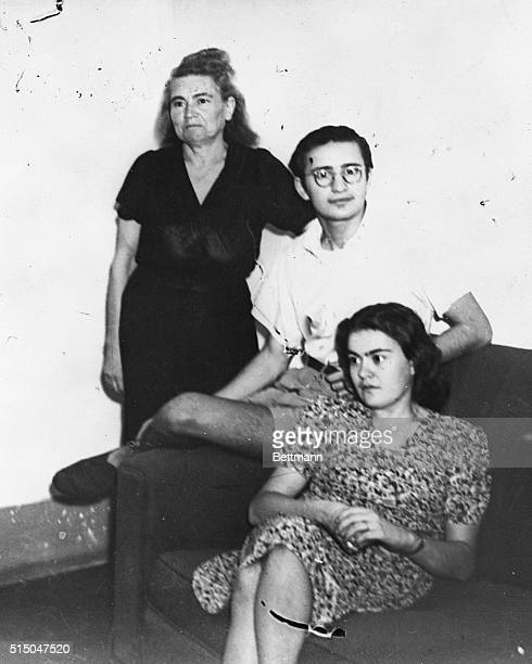Donna Rachele Mussolini widow of the former Italian dictator poses with two of her children Romano and Anna Maria in an Allied detention camp where...