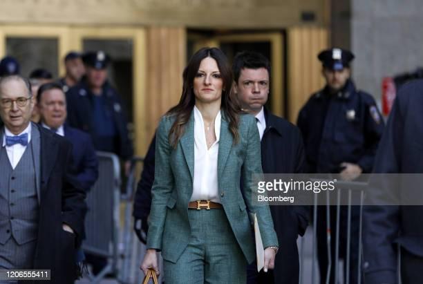 Donna Rotunno attorney for former Weinstein Co CoChairman Harvey Weinstein center exits from state supreme court in New York US on Wednesday March 11...