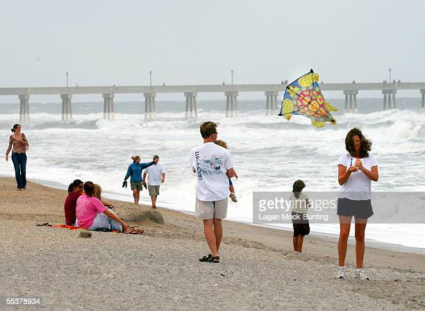 Donna Russ flies a kite in gusty weather caused by Hurricane Ophelia on September 11 2005 in Wrightsville Beach North Carolina Hurricane Ophiela off...